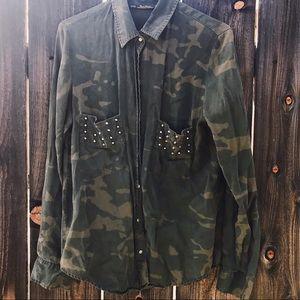 Zara camouflage button up shirt
